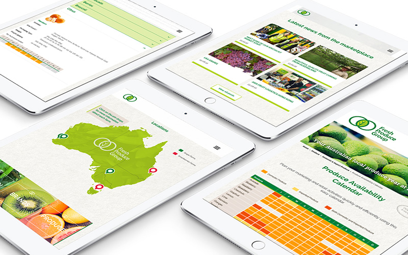 Fresh Produce Group's website on tablet