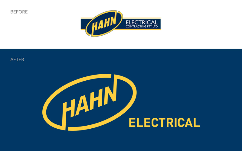 Hahn logo before and after