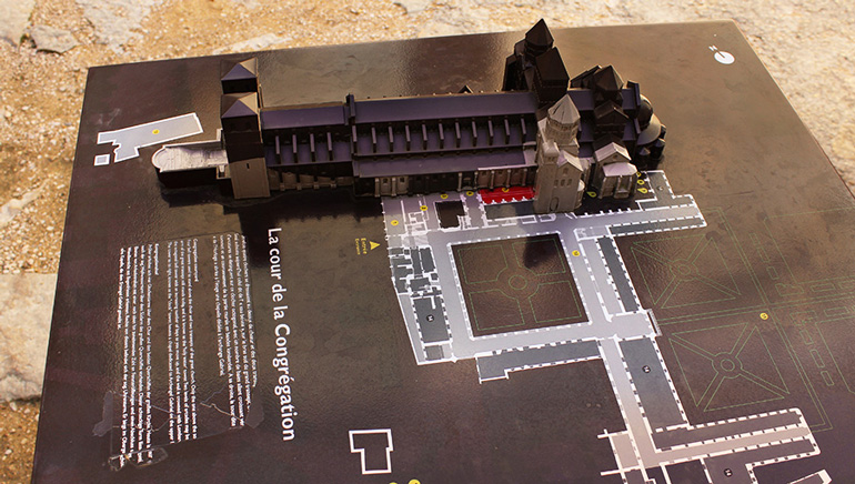 Cluny Abbey 3D printed model interpretive sign